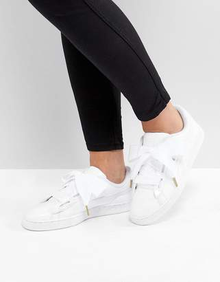 Puma Basket Heart Sneakers In Patent White