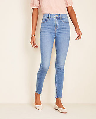 Ann Taylor Sculpting Pocket Highest Rise Skinny Jeans in Light Stone Wash