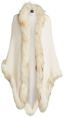 William Sharp Fox Fur-Trim Cashmere Cape