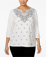 Karen Scott Plus Size Embroidered Split-Neck Top, Only at Macy's