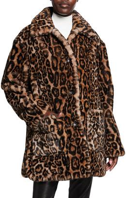 A.L.C. Bolton Leopard-Print Faux-Fur Coat