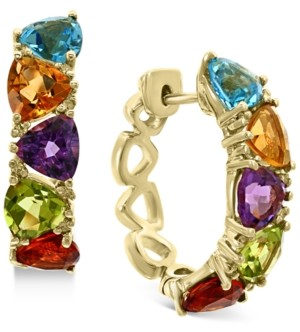Effy Multi-Gemstone (5-1/3 ct. t.w.) & Diamond (1/8 ct. t.w.) Trillion Small Hoop Earrings in 14k Gold