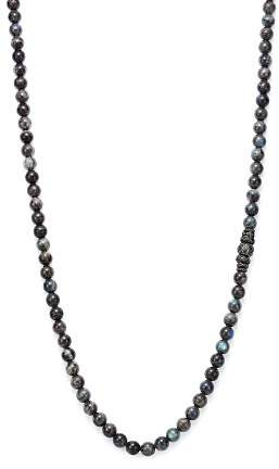 Armenta Old World Midnight Labradorite Bead Necklace with Carved Tahitian Pearl and Black Sapphire, 39""