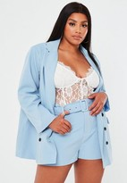 Missguided Plus Size Blue Co Ord Belted Shorts