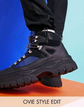 Asos DESIGN lace up hiker boots in black faux leather on chunky sole