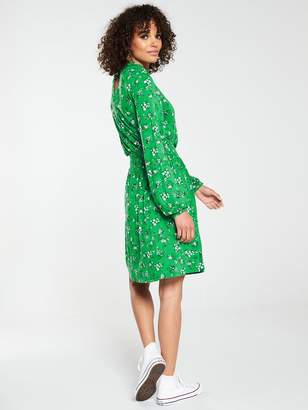Very High Neck Shirred Detail Dress - Green Floral