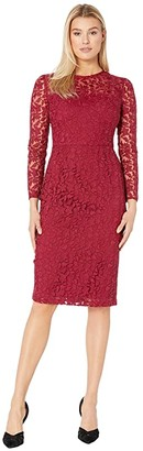 Maggy London Leaf flower Embroidery Novelty Sheath Dress (Cranberry) Women's Dress