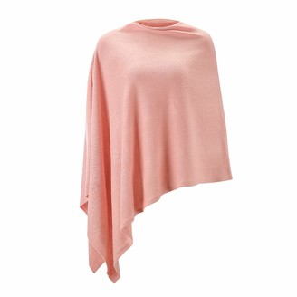 Fomolom Women Poncho Lightweight Solid Sweater Shawl Cape Knitted Pullover Elegant Womens Tops Lightpink