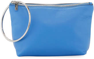 THACKER Large Leather Ring-Handle Pouch Clutch Bag - Silver Hardware