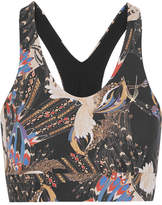 Lucas Hugh Erte Printed Stretch Sports Bra - Black