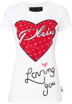 Philipp Plein embellished heart T-shirt - women - Cotton - XS