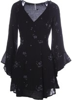 Free People Womens Jasmine Embroidered Boho Casual Dress Black