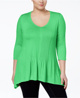 American Rag Trendy Plus Size Shirred Handkerchief-Hem Top