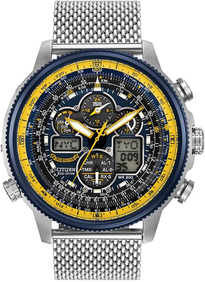 Citizen Men's Analog-Digital Chronograph Eco-Drive Navihawk A-t Stainless Steel Mesh Bracelet Watch 48mm JY8031-56L