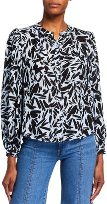Veronica Beard Ashlynn Printed Long-Sleeve Blouse