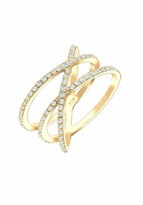 Elli Women's 925 Sterling Silver Gold Plated Xilion Cut Zircon Crossed Ring Size M