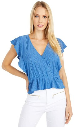 BCBGeneration Surplice Ruffle Sleeve Knit Top - TTC1278220 (Riviera) Women's Clothing