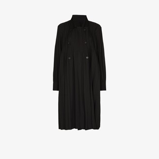 Pleats Please Issey Miyake Double-Breasted Plisse Coat