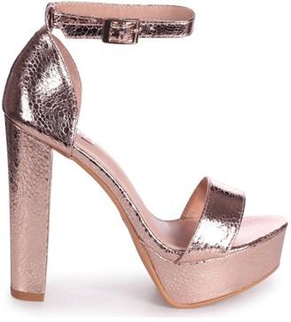 Barely There Linzi ELLEN - Rose Gold Cracked Metallic Closed Back Platform Block Heel