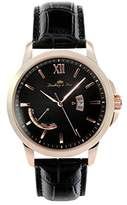 Lindberg & Sons wrist watch for men quartz movement - analog display black leather bracelet and black dial LS15H5