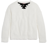 Design History Girls' Lace-Up Sweater - Big Kid