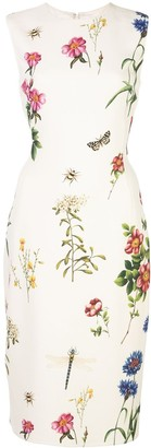 Oscar de la Renta Floral Print Fitted Dress
