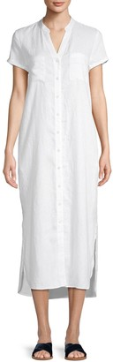 Pure Navy High-Low Linen Button-Front Dress