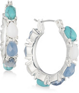 Nine West Silver-Tone Blue & White Stone Hoop Earrings