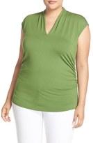 Vince Camuto Plus Size Women's Pleat V-Neck Knit Top