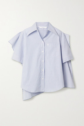 pushBUTTON Asymmetric Layered Striped Cotton-poplin Shirt - Blue