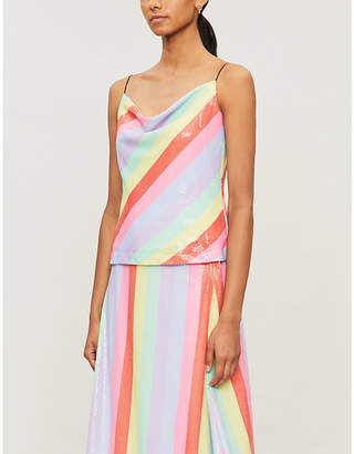 Olivia Rubin Clover striped sequinned camisole
