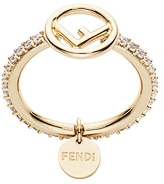 Fendi Crystal-Embellished Logo Ring