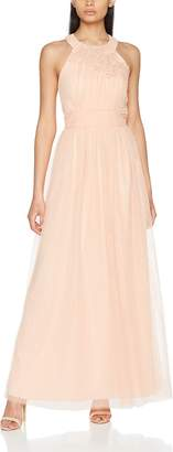 Little Mistress Women's Sherbet Open Back Maxi Dress with Floral Applique Party