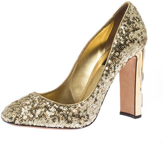 Dolce & Gabbana Metallic Gold Sequin Crystal Studded Heel Pumps Size 40