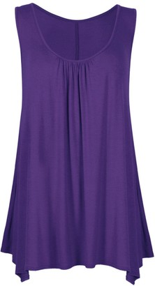 Comfiestyle Women's Sleeveless Ruched Neck Hanky Hem Top.UK 8-26 Teal