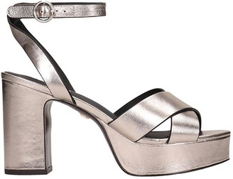 Lola Cruz Sandals In Platinum Leather