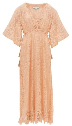 Melissa Odabash Mel Long Lace-embroidered Kaftan - Womens - Light Brown