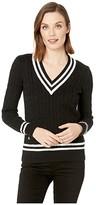 Lauren Ralph Lauren Cotton Cricket Sweater (Polo Black/Mascarpone Cream) Women's Clothing