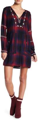 ENGLISH FACTORY Embroidered Plaid Dress