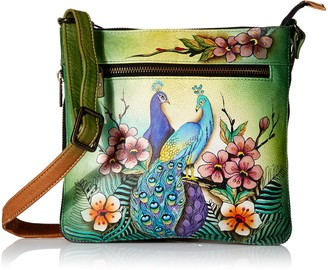 Anuschka Womens Genuine Leather Expandable Travel Crossbody - Hand Painted Original Artwork - Passionate Peacock