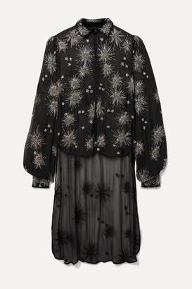 retrofete Claudette Asymmetric Embellished Silk-chiffon Shirt - Black