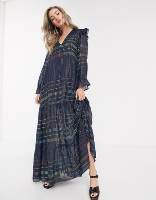 DAZE Dusty ruffle shoulder maxi dress with tiered skirt in metallic and rainbow check