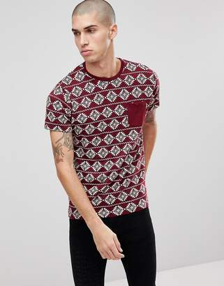 Brave Soul All Over Geo-Tribal Print T-Shirt-Red
