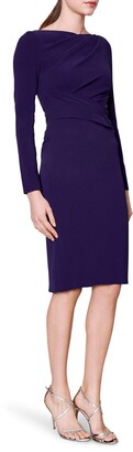 Talbot Runhof Ruched Long Sleeve Crepe Body-Con Dress