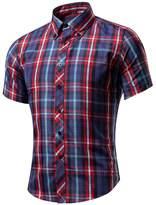 WSLCN Men's Button Down Shirt Checkered Summer Casual Shirt Short Sleeves Slim Fit N°21