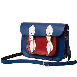 N'damus London Blue & Red 11 Inches Leather Mini Pocket Satchel