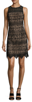 Shoshanna Lace Scalloped Fit and Flare Dress