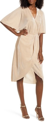 Vero Moda Dagny Metallic Pleated Faux Wrap Dress