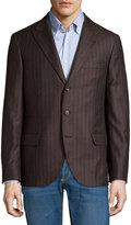 Brunello Cucinelli Three-Button Wool Striped Jacket, Brown