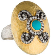 Gurhan Diamond and Turquoise Domed Lentil Ring